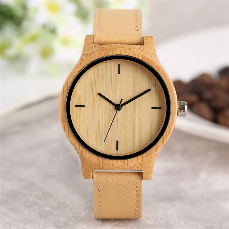 Women's Fashion Wooden Watch Vintage Analog Modern Bamboo Quartz Wristwatch Brown Genuine Leather Band Top Gift Relogio Feminino hand made mens wooden bamboo quartz watch black genuine leather watchband simple unique modern wristwatch gift for male female