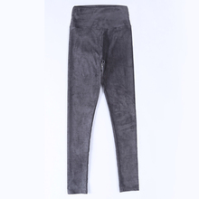 2016 spring suede leather women pants high waist large elastic slim retro suede pants for women