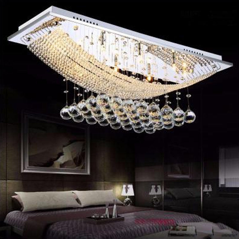 LED crystal lights rectangular living room lights luxury halls chandeliers bedroom lights modern minimalist ceiling lamps цена 2017