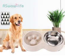 Wheat Straw Slow Food Anti-mite Stainless Steel Double Bowl Pet Food Utensils Healthy Family Pet Supplies цена