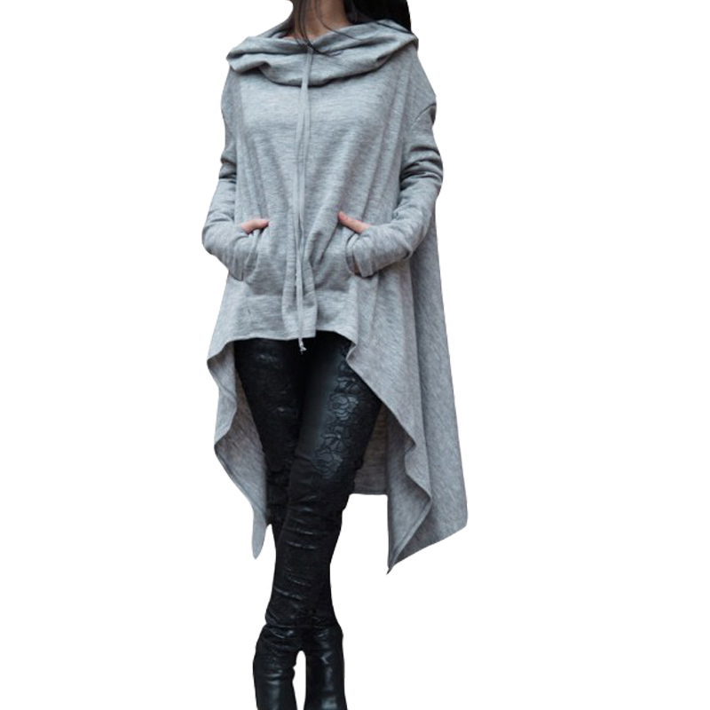 Sweatshirt Women Casual Outwear Hoody Loose Long Sleeve Mantle Cover Pullover Clothes 2018 New Solid Color Long Section Hoodies