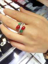 Natural red coral Ring Natural gemstone Ring S925 sterling silver trendy Elegant big Luxury flowers women's girl Jewelry