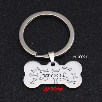 Stick Figure Bone Keychain Engraved Woof For Dog Lover DOG ID Keychain Trendy Jewelry Charm Hand Stamped Key Ring