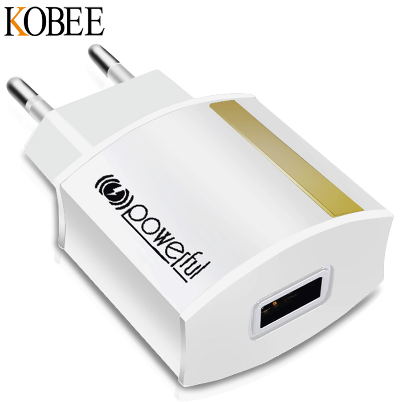 KOBEE 5V 2.1A Universal Travel USB Charger Adapter Wall Portable EU Plug Mobile Phone Smart Charger For iPhone For SamsungTablet
