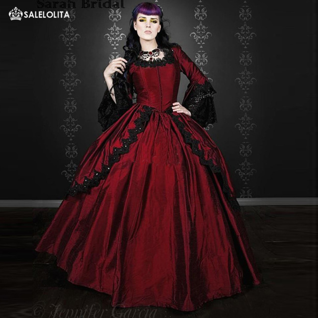 19th Century Wine Red Marie Antoinette Renaissance Vampire Gothic Victorian Period Dresses Satin Ball Gown Reenactment