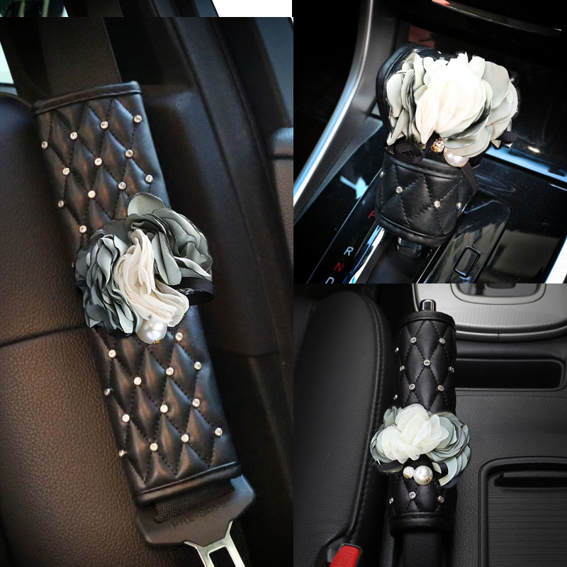 Blue Butterfly Flower Auto Interior Decoration For Girls Crystal Car Seat Belt Cover Hand Brake Gear Shifter Cover Accessories