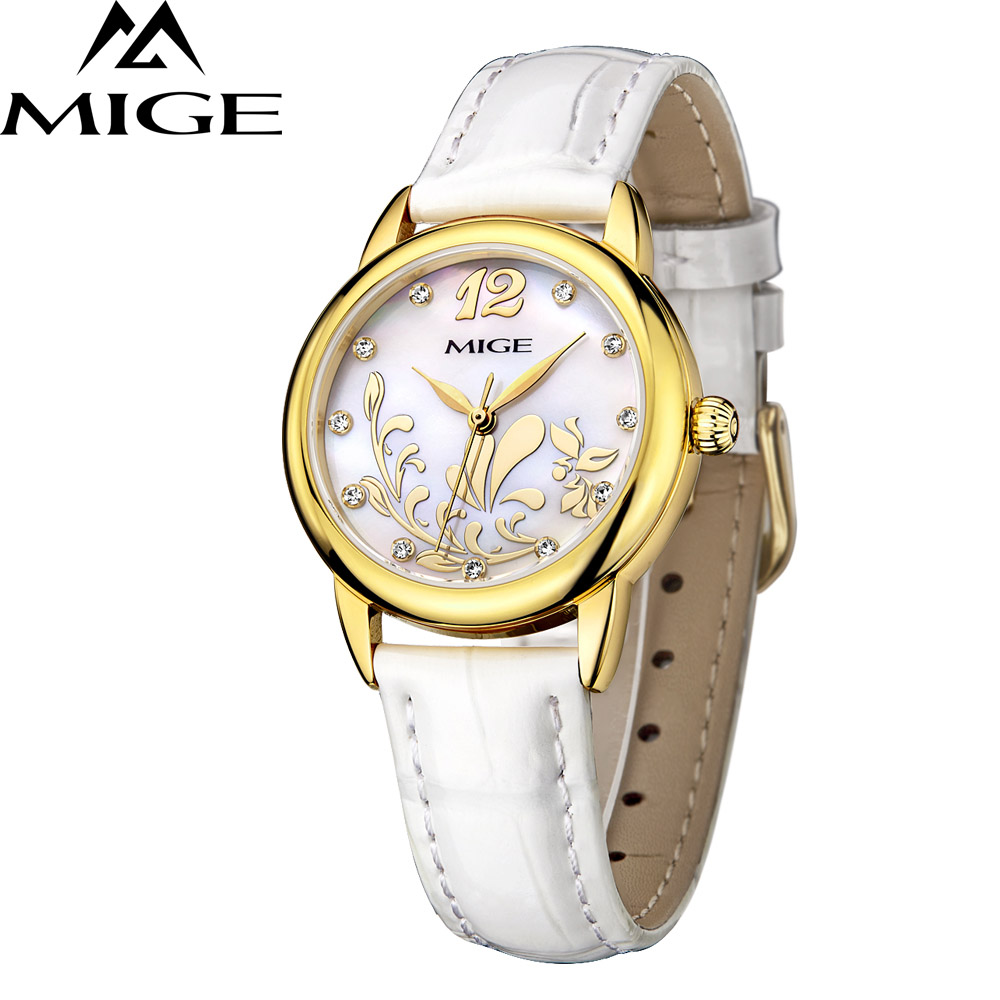 2018 Top Brand Mige Business Fashion Steel Case White Leather  Band Japan Movement Ladies Watch Waterproof  Women Quartz Watches