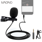 MAONO Lavalier Microphone Handsfree Condenser Microphone Clip On Vocal Recording Lapel Mic Wired Studio Microphone for DSLR Cam