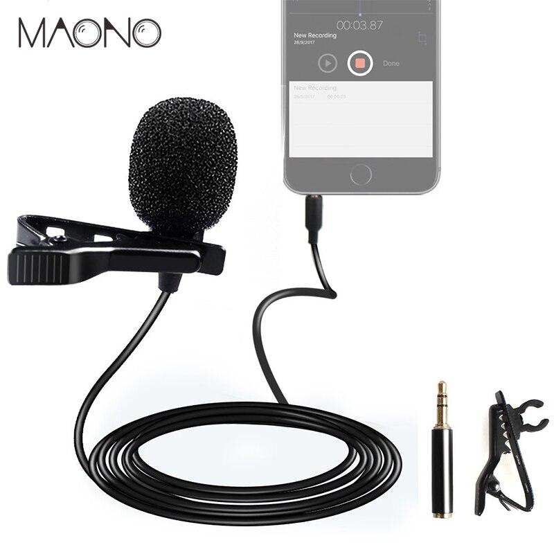 MAONO Lavalier micrófono manos libres micrófono de condensador Clip en grabación Vocal solapa micrófono con cable estudio micrófono para DSLR Cam