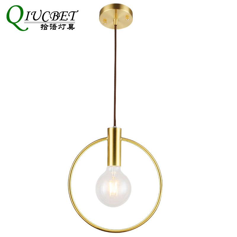 America Ins Style Gold Single Ring Pendant Light For Living Room Lighting 20cm 26cm 28cm  Arts Decorative 220V Hanging Lamp|Pendant Lights| |  - title=