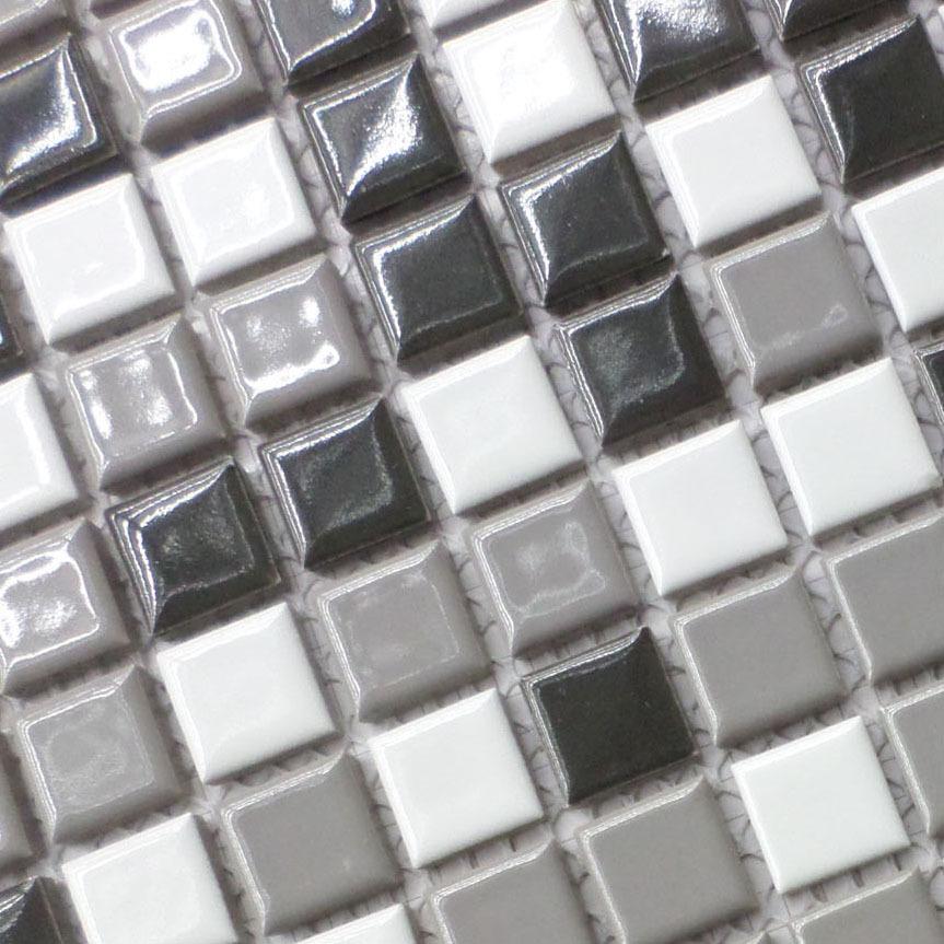azulejos de porcelana blanco y tonos grises mezcladas hmcm para bao ducha mosaico backsplash de la