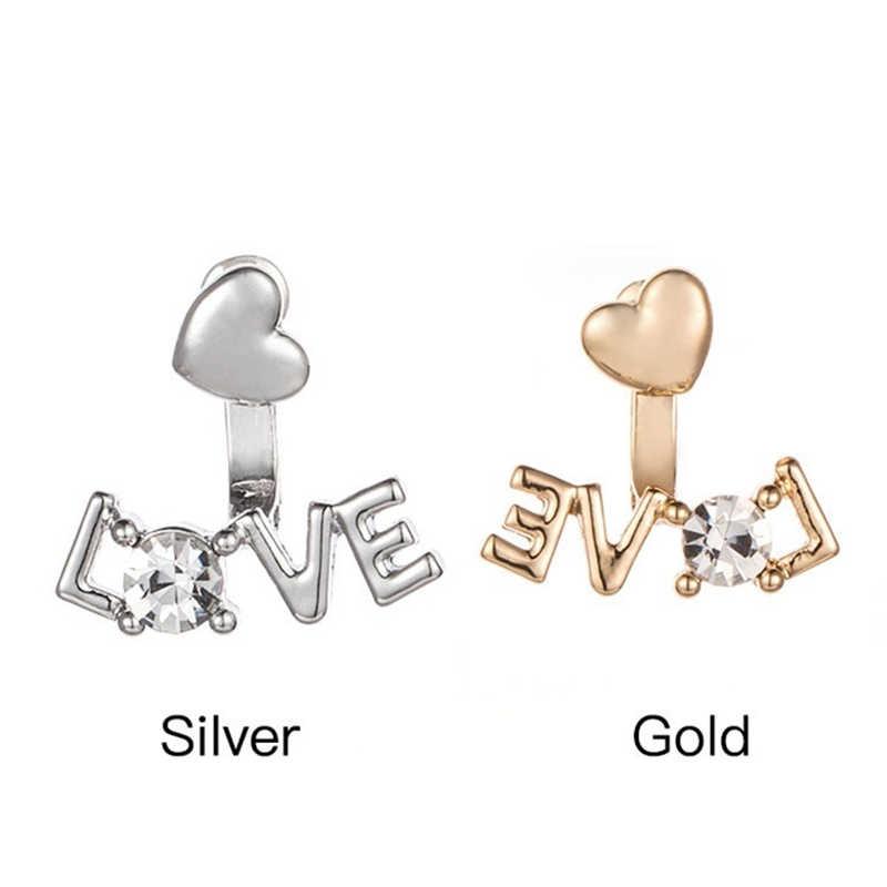 ตัวอักษร Love ต่างหูคริสตัลสตั๊ดสำหรับผู้หญิง Gold Silver สีคู่เครื่องประดับต่างหูหญิง brincos ที่รอดำเนินการ Mujhe 372907