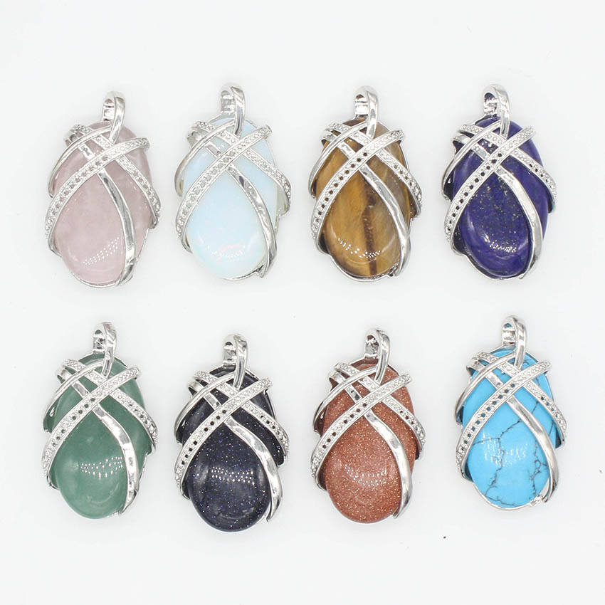 Kraft-beads Unique Silver Plated Natural Oval Mixed Quartz Stone Silk Ribbon Wrapped Pendant Fashion Jewelry
