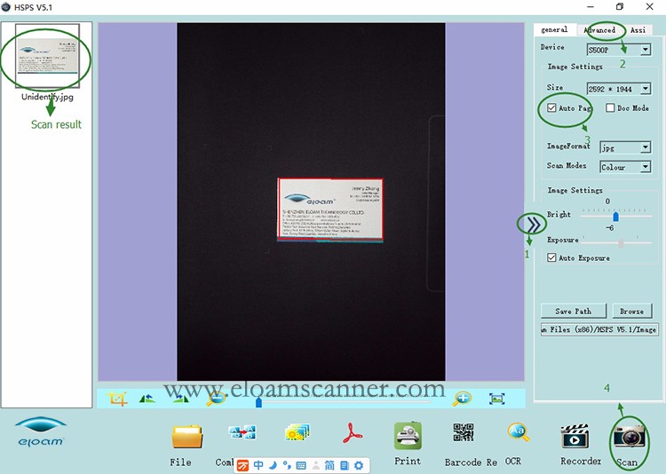Name card scan steps