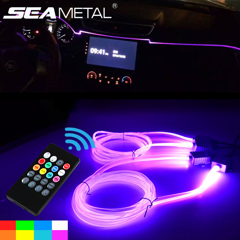 4m car interior moulding strip flexible rgb led line auto atmosphere interior music lights in for Led strip lights for car interior