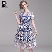 5d2fb220853d9 S-XXL bahar yaz kadın elbise pembe çiçek desen nakış elbise balo vintage  tatlı sevimli mavi astar diz boyu elbise