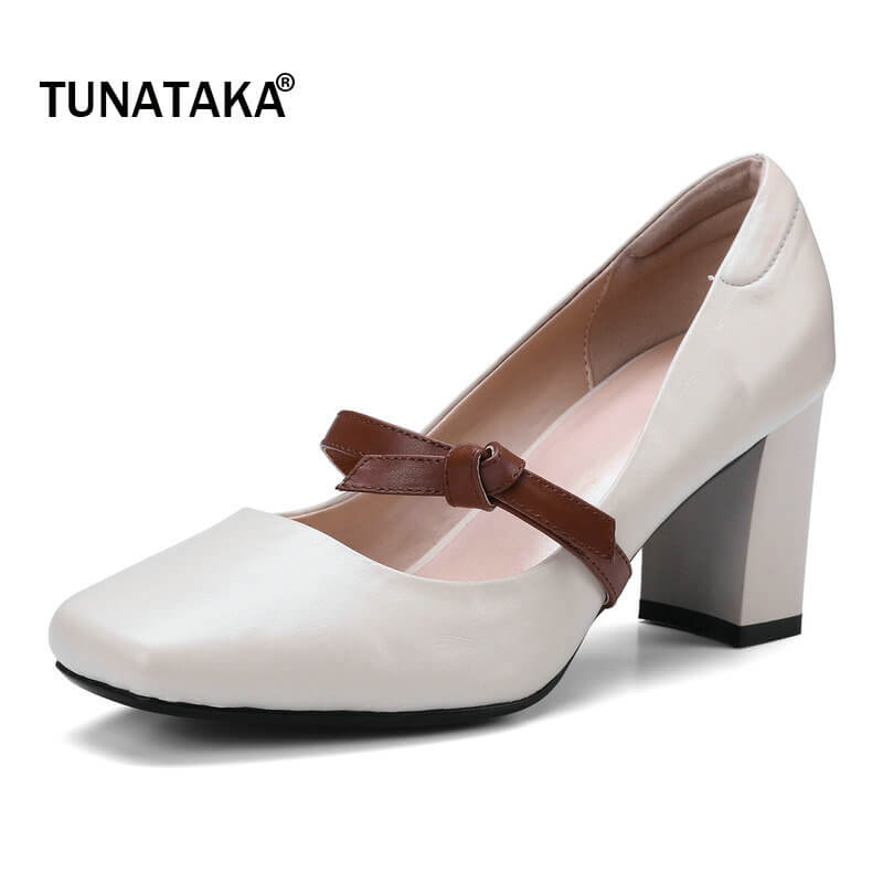 Genuine Leather Square Toe Thick High Heel Woman Lazy Pumps Fashion Boe Knot Dress High Heel Shoes Woman Black Beige genuine leather thick high heel woman slingbacks pumps fashion square toe dress lazy high heel shoes ladies black white