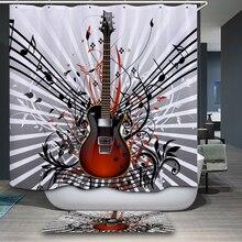 New Arrivals Shower Curtain Modern Music Theme Cartoon Pattern Waterproof Bathroom Fabric Home Decorative
