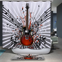 New Arrivals Shower Curtain Modern Music Theme Cartoon Pattern Waterproof Bathroom Fabric Home Decorative Shower Curtain
