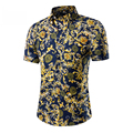 2016 summer style hombres ropa más del tamaño 5XL marca de lujo hombres de la camisa delgada ocasional camisa floral camisas de hombre hawaiano, envío gratis