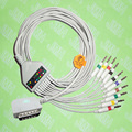 Compatible with Kanz PC109, 108,110,1203, 1205 EKG 10 lead,One-piece cable and leadwires,15PIN,4.0 banana,IEC or AHA.