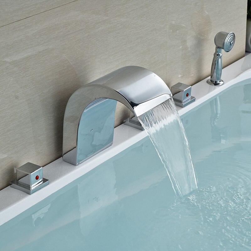 Chrome Finish Square Handles Design Bathtub Shower Faucet with Brass Handshower