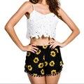 Mulheres Alta Cintura Elástica Print Floral Curto Menina do Verão Casuais Shorts Soltos Shorts S-XL