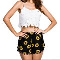 Women High Waist Elastic Floral Print Short Girl Summer Casual Shorts Loose Shorts S-XL