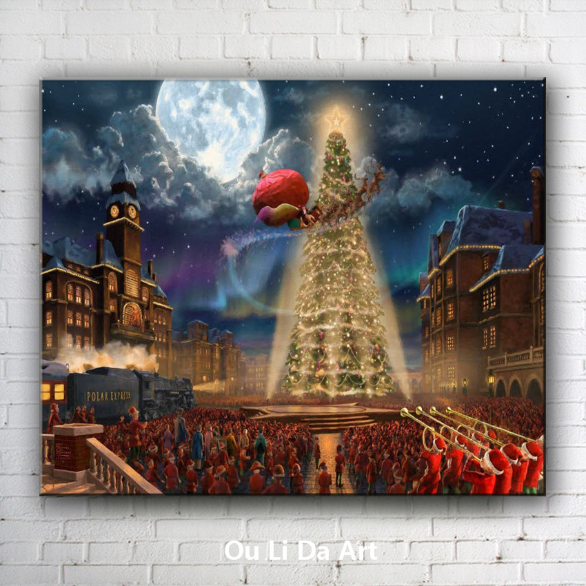 cartoon city man Christmas tree lights canvas printings oil painting printed on canvas kid room wall art decoration picture