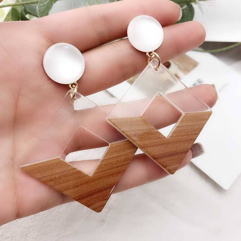2019 New Autumn Winter Fashion Frosty Style Geometric Square Resin Drop Earrings for Girl Women Jewelry Accessories Wholesale