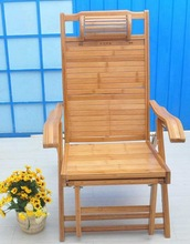 Cheap bamboo folding lunch nap recliner chair back Happy elderly leisure beach outdoor balcony