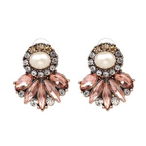 2017 New Arrival Trend Statement Jewelry Flower Crystal Luxury Stud Earring Opal Stone Earrings For Gift Wholesale Factory Price(China)