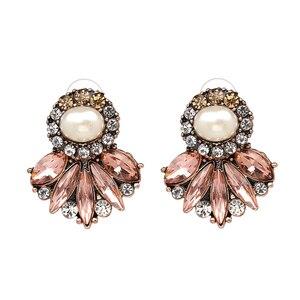 Novedad 2017, joyería de moda, pendientes de lujo con flor de cristal, pendientes de piedra ópalo para regalo, precio de fábrica al por mayor