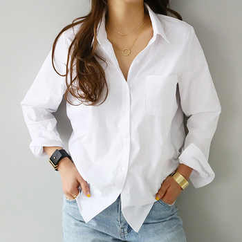 2019 Spring One Pocket Women White Shirt Female Blouse Tops Long Sleeve Casual Turn-down Collar OL Style Women Loose Blouses - DISCOUNT ITEM  53% OFF All Category