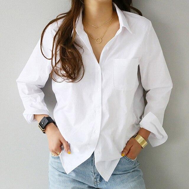 2019 אביב אחד כיס נשים של חולצה נשי חולצה למעלה ארוך שרוול מזדמן לבן תורו למטה צווארון OL סגנון נשים Loose חולצות