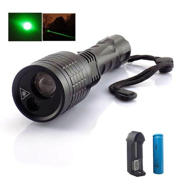 Nouvelle 2 En 1 Led Lampe De Poche Avec Laser Vert Pointeur Lazer