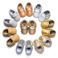 Cute baby shoes Non-slip bebe comfort first walkers toddler moccasins fringe brilliant gold PU leather crib shoes bebe girl
