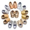 Lindos zapatos de bebé antideslizante bebe confort primeros caminante del niño mocasines franja de oro brillante de cuero de la PU de los zapatos del pesebre bebe niña
