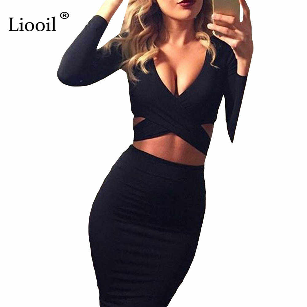 Liooil Sexy Hollow Out Bodycon Midi Dress Women Autumn 2019 Spring V Neck  Long Sleeve Red 29f683e90377