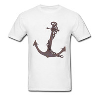 Harajuku Funny Tops Rusty Anchor Printed T-shirt Men Vintage Style Customized Pirate Cult Summer Tops Cotton Clothing