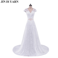 Cheap Price !  Cap Sleeve O Neck With Bow Sash A Line Simple Elegant Ivory Lace Wedding Dresses 2015