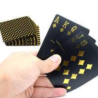 55 stücke/deck Wasserdicht Luxus Schwarz Goldfolie Überzogen Poker Premium Matte Kunststoff Brettspiele PVC spielkarten