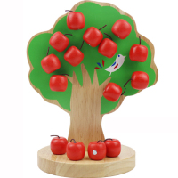 Kids Toys Wood Apple Tree Number of apples Educational toys C Math Toys Montessori Counting Arithmetic Toys