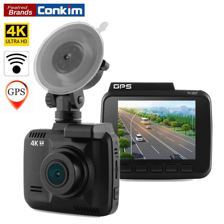 Conkim Dash Cam Caméra GPS Wifi DVR Voiture Caméscope 4 K 2880x2160 P Nuit Vision Novatek 96660 2.4 Auto Greffier Voiture Boîte Noire H40