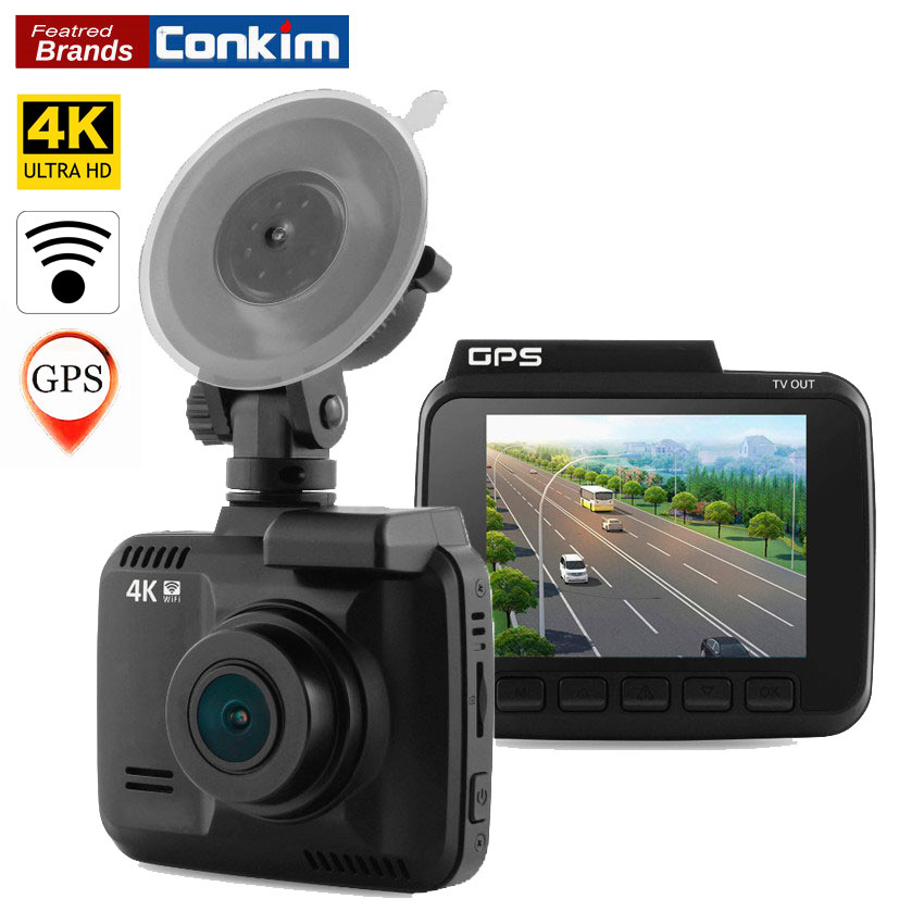 Conkim Traço Cam Câmera Wifi GPS DVR Carro Filmadora 4 K 2880x2160 P Night Vision Novatek 96660 2.4