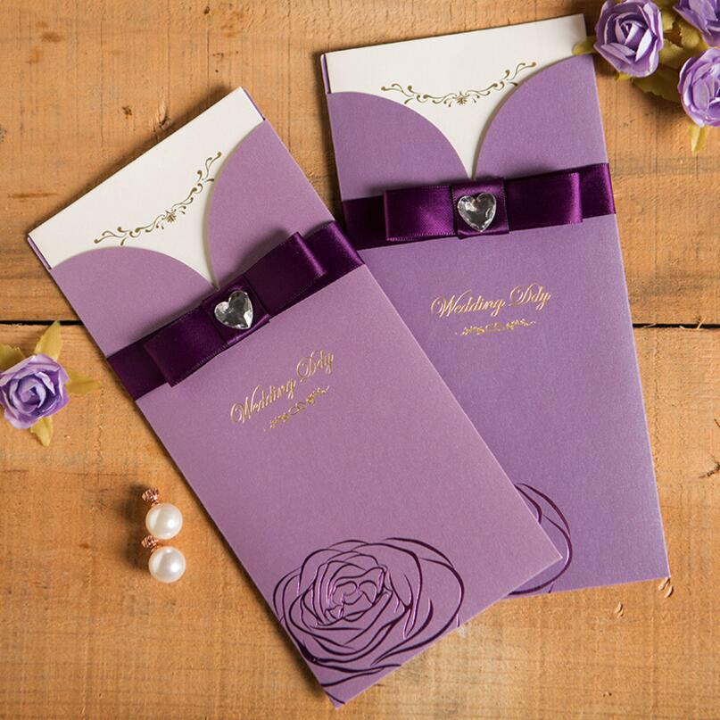 50pcs/pack New Elegant Purple Red Crystal Ribbon Wedding Invitation Card  Flowers Printed Invitations For