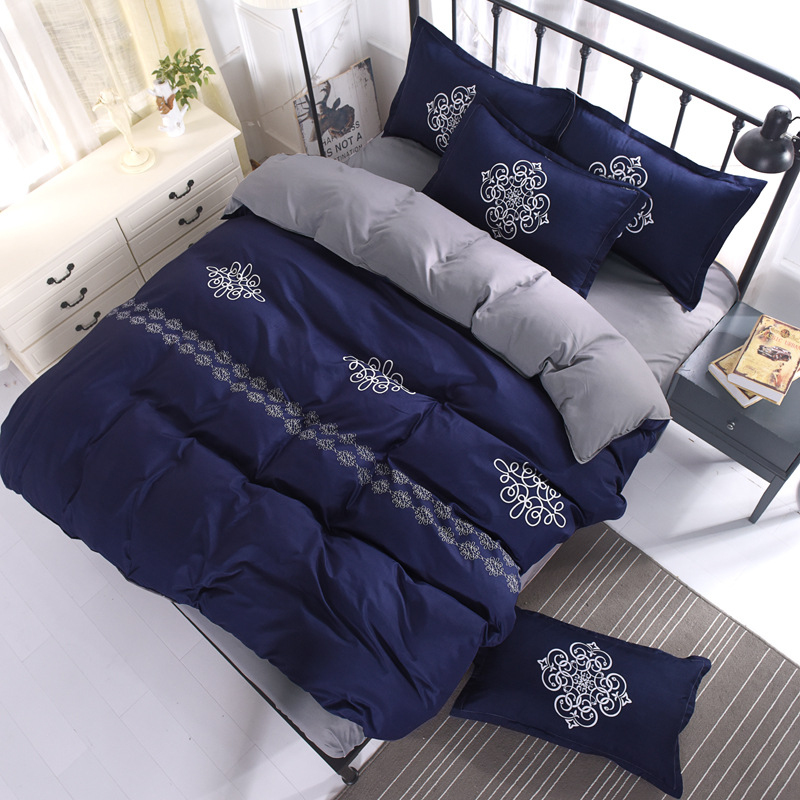 Double Queen King size Bedding Set 4Pcs Soft Bedclothes 1.5m 1.8m 2m Bed sheet Duvet cover Pillowcase Bedlinens Polyester Cotton