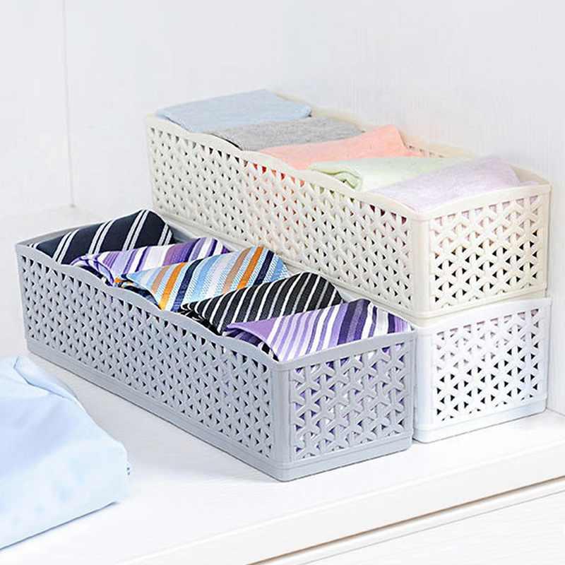 1/2/3/4/5 sztuk 5 siatki pudełko do przechowywania krawat biustonosz skarpetki bielizna szafa pudełko do przechowywania plastikowy organizator do makijażu wielofunkcyjny