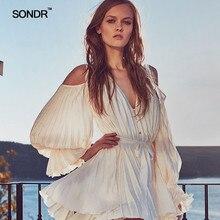 SONDR 2019 Summer Long Sleeve V-Neck Dresses Fashion Women Elegant Celebrity Evening Party Sexy
