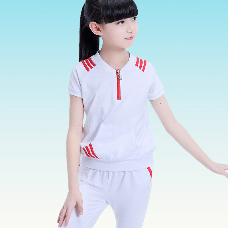 Children clothing sets summer Cotton Girls clothes Short-Sleeved T-Shirt+Half Pants 2 PCS Big Girl Modal Casual Kids Sport Suits european and american style brand children s clothing children summer cotton short sleeved t shirt baby girls t shirt 50158